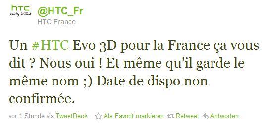 EVO 3D HTC Frankreich