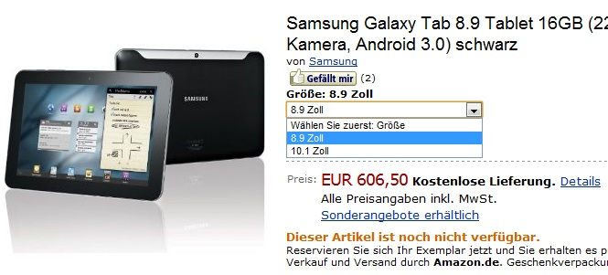 Galaxy Tab 8.9 Amazon