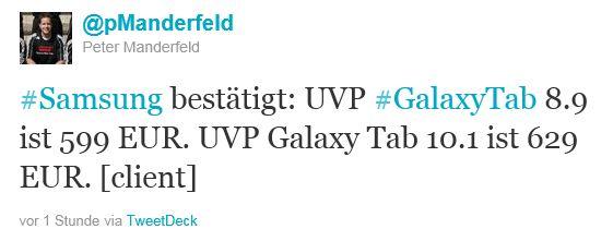 UVP Galaxy Tab 10.1 8.9