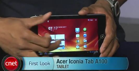 first look iconia tab a100