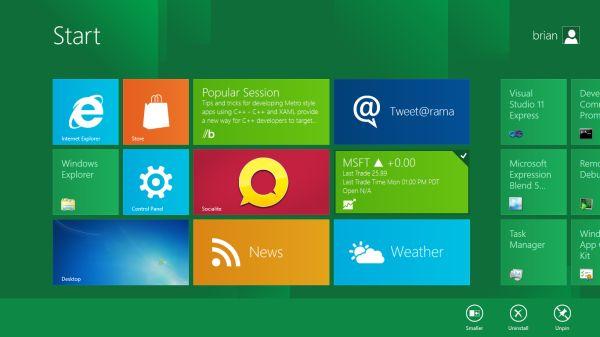 Windows 8 Homescreen