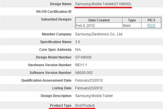 n8000 bluetooth-certification
