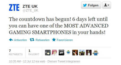 Twitter ZTE_UK The countdown has begun! 6-092011