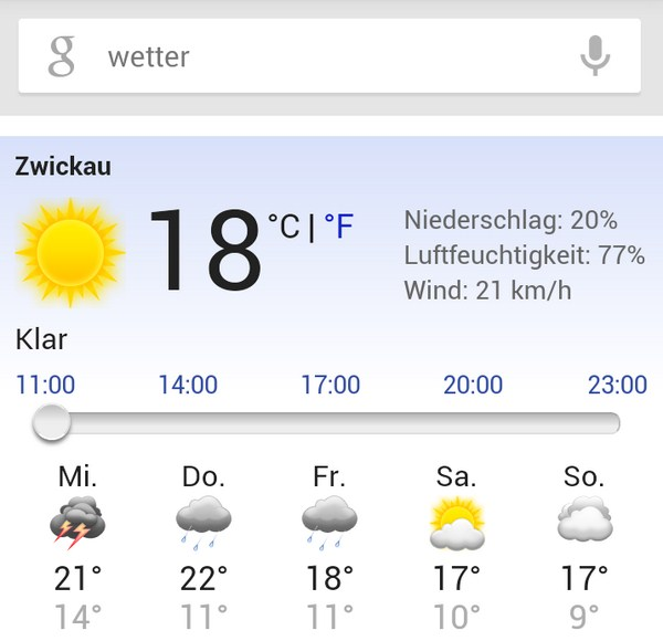 Wetter Google Suche Screenshot