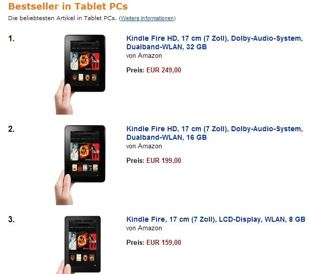 kindle fire bestsellerliste