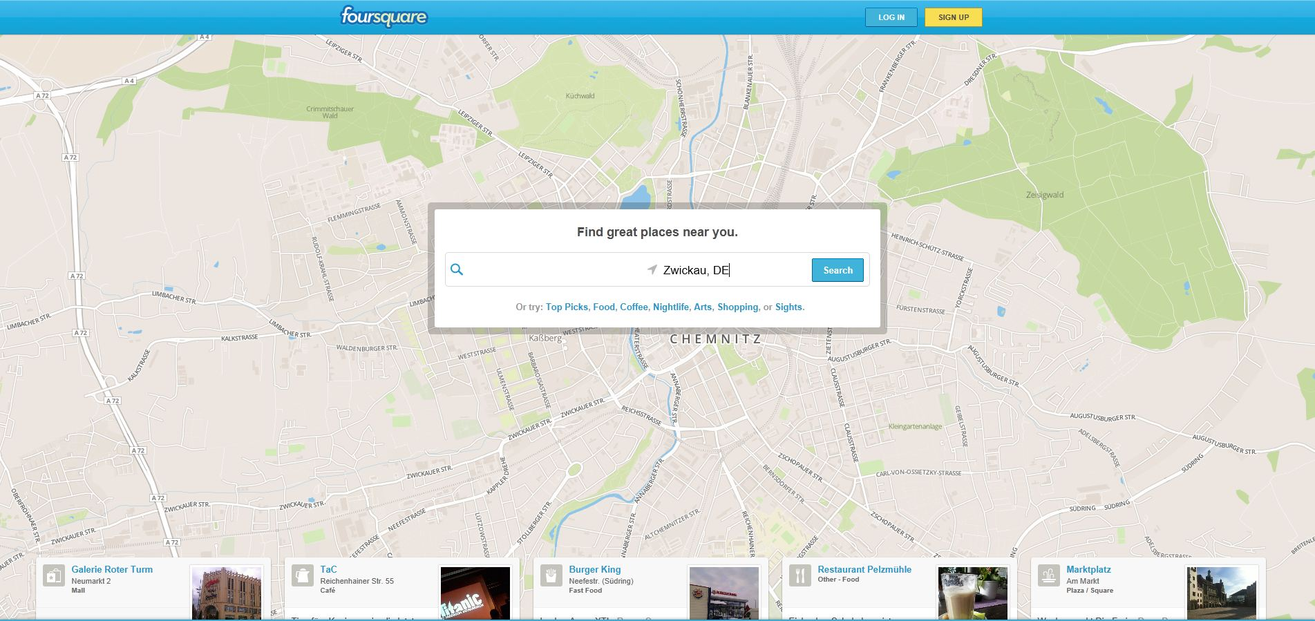 Foursquare im Browser