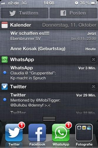 iOS Mitteilungszentrale