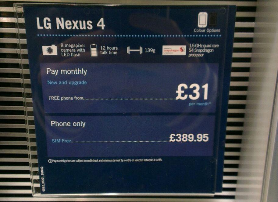 nexus 4 preis uk