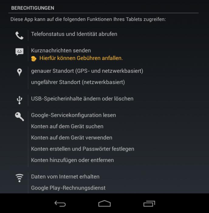 Android 4.2 Test Sicherheit Berechtigungen