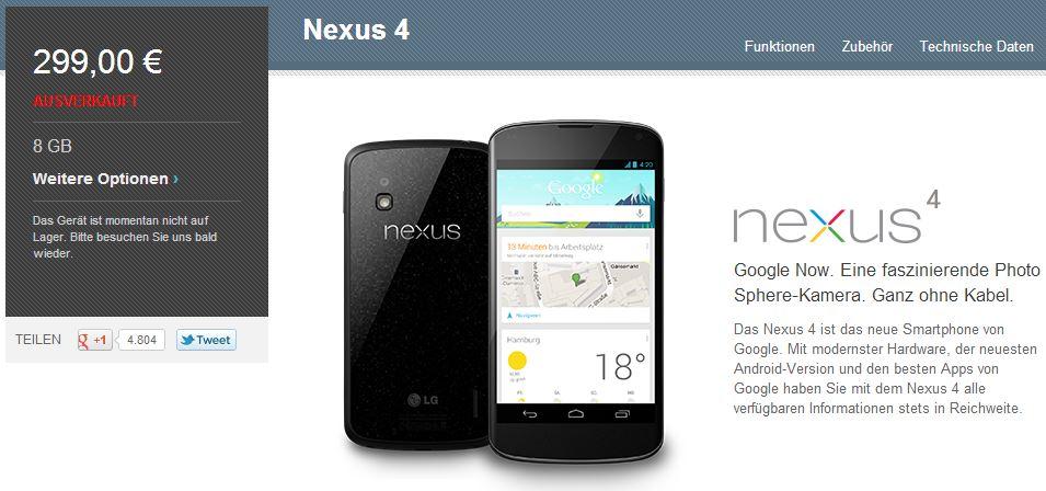 nexus 4 ausverkauft screenshot