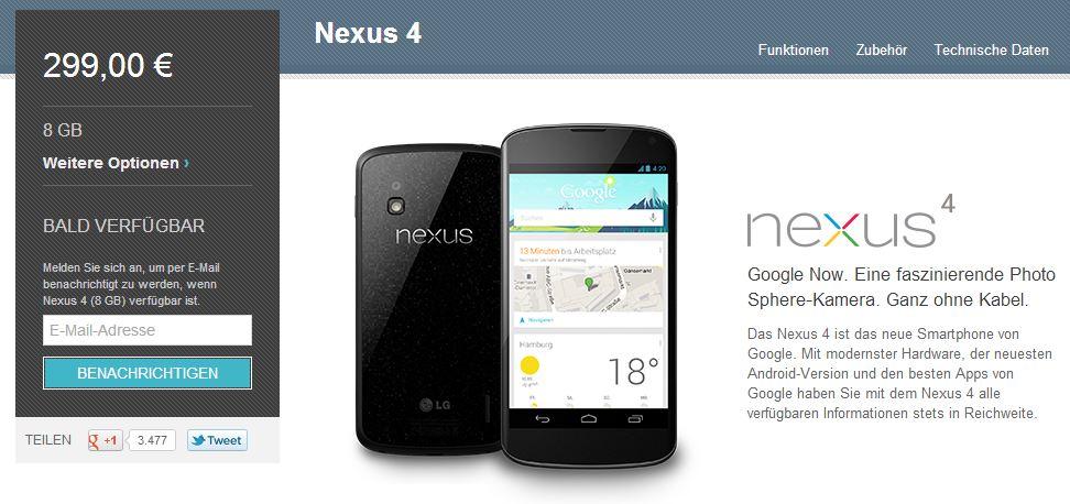 Nexus 4 bald verfuegbar header