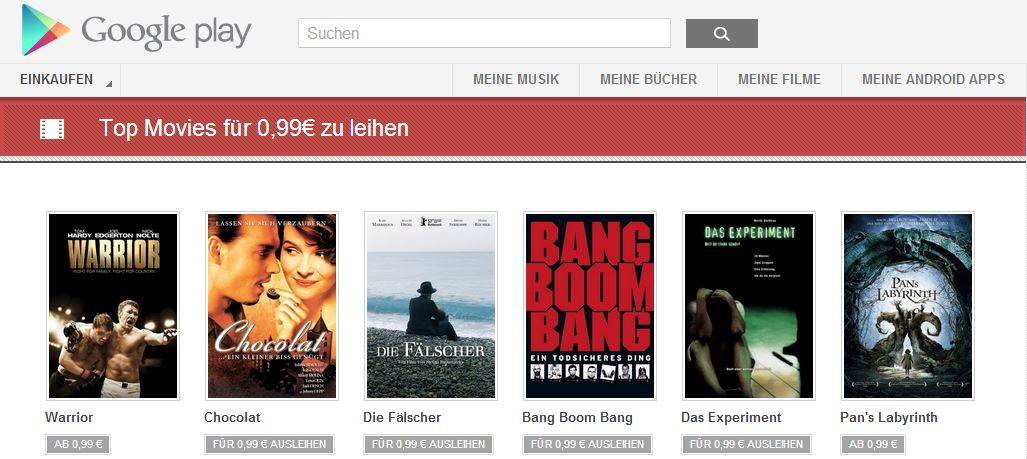99cent aktion google play movies