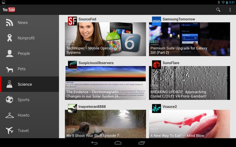 youtube android app bekommt neue oberfl che f r gro e tablets. Black Bedroom Furniture Sets. Home Design Ideas