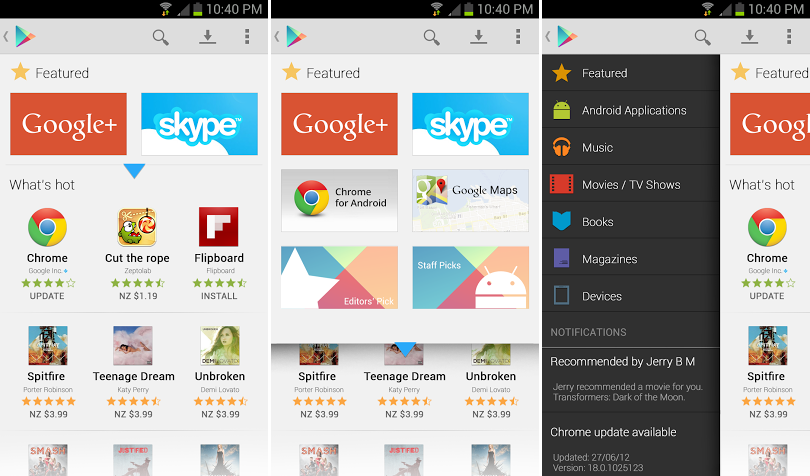 Play Store Redesign Konzept