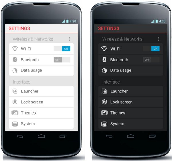 android settings konzept