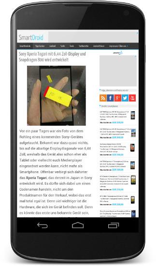 SmartDroid Chrome Vollbild