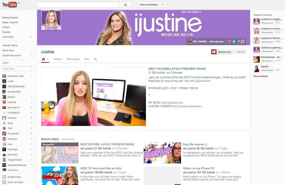 YouTube Kanal Redesign Februar 2013 Screenshot