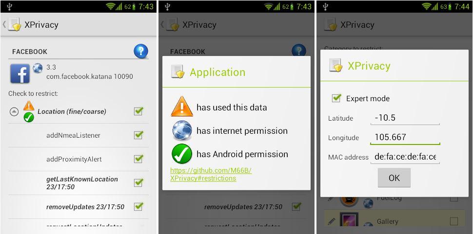 XPrivacy Screenshots