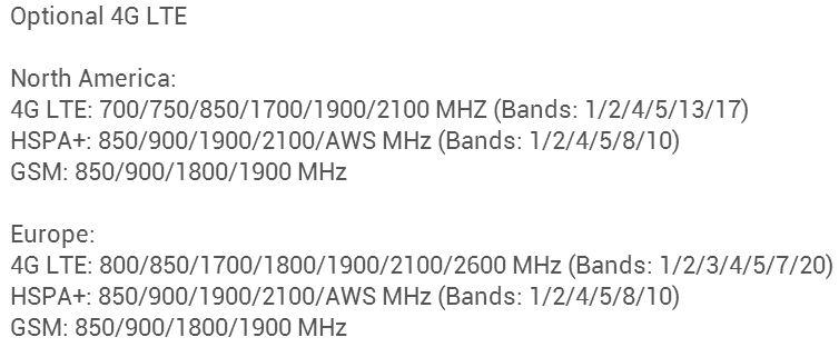 nexus 7 lte frequenzen