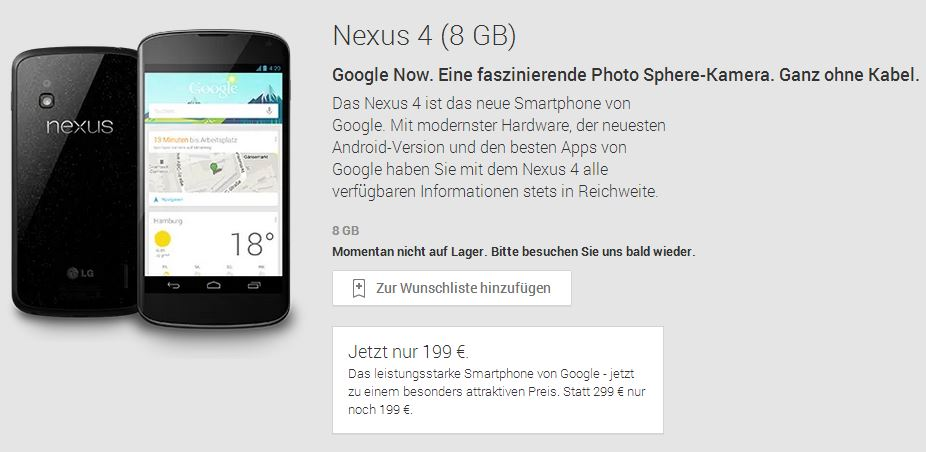 nexus 4 ausverkauft google play september 2013