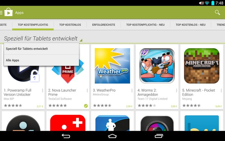 tablet kategorie play store