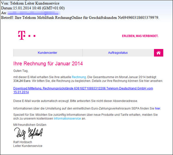 phishing falsche telekom rechnungen kommen per mail. Black Bedroom Furniture Sets. Home Design Ideas