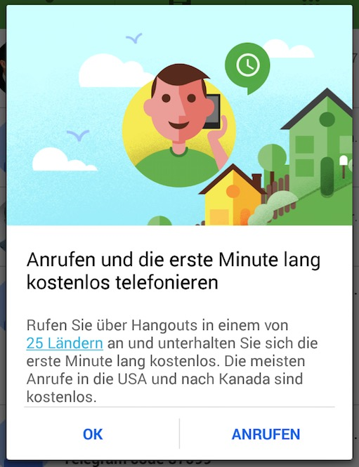 Google Hangouts Erste Minute Telefonie Kostenlos