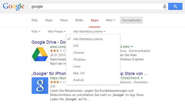 bei google kann man jetzt nach apps f r android windows os x und co suchen. Black Bedroom Furniture Sets. Home Design Ideas