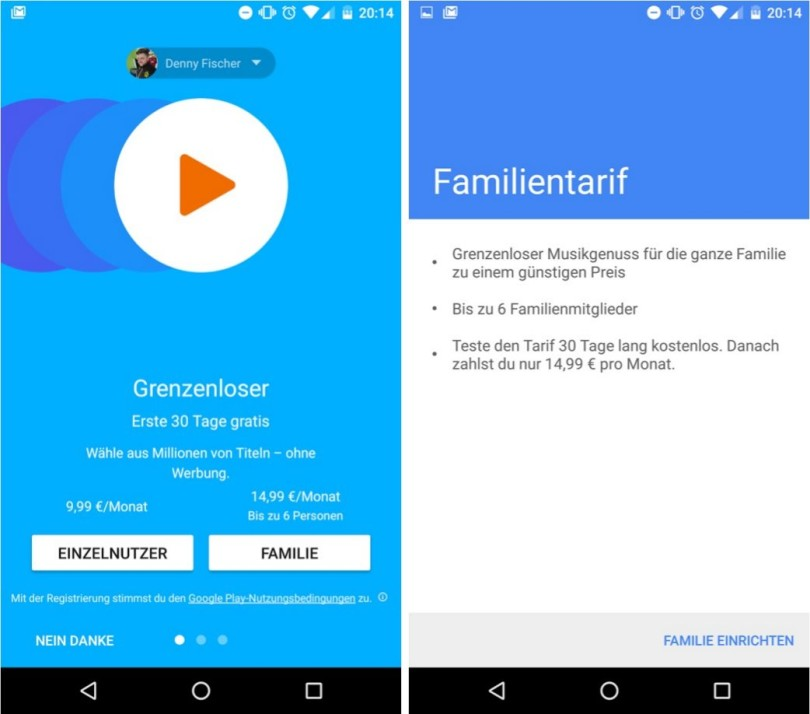 google play music family plan android app