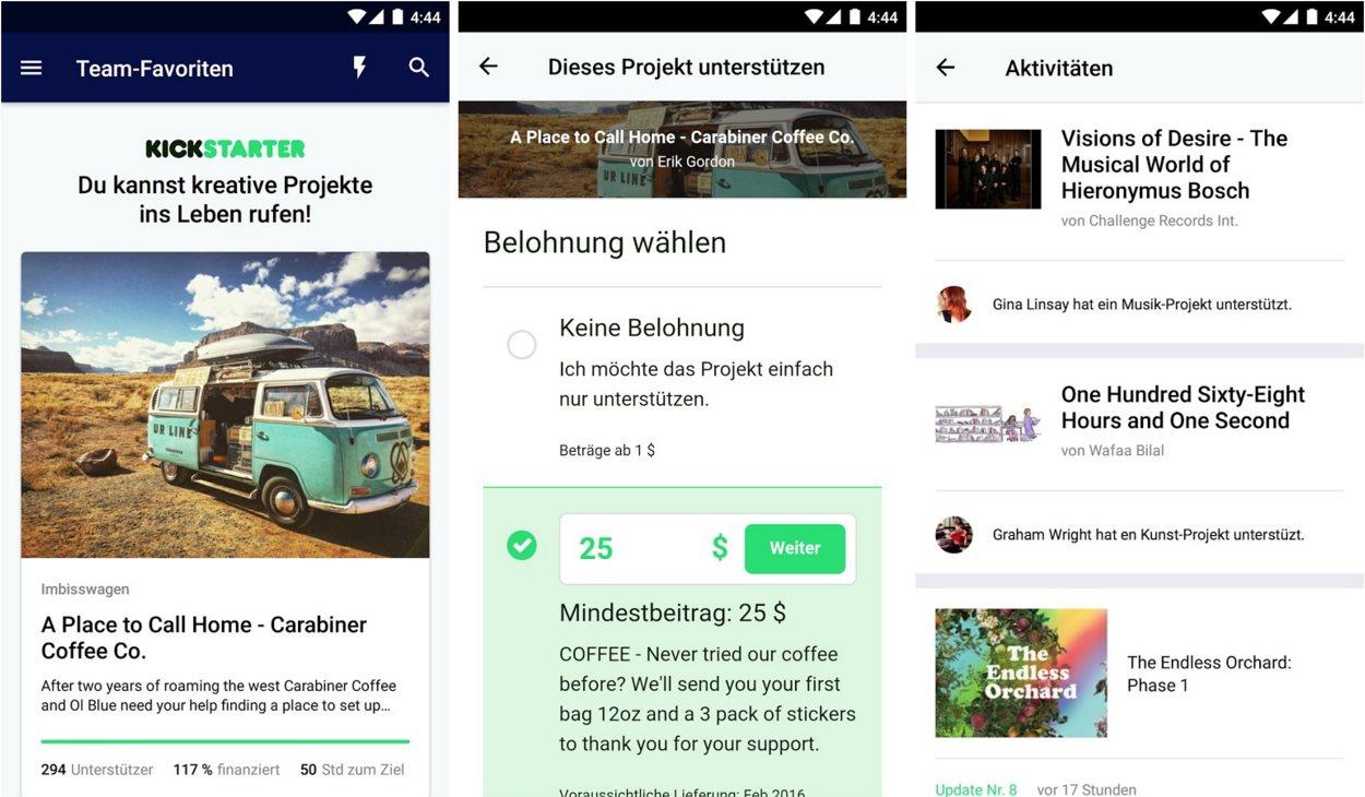 Kicktstarter App Android