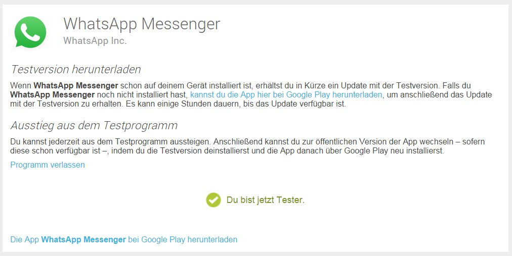 WhatsApp Testprogramm Google Play