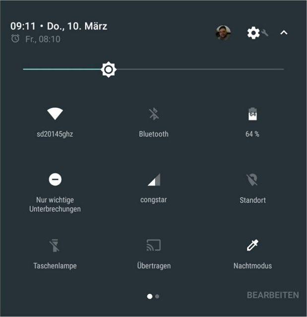 Android N Schnelleinstellungen