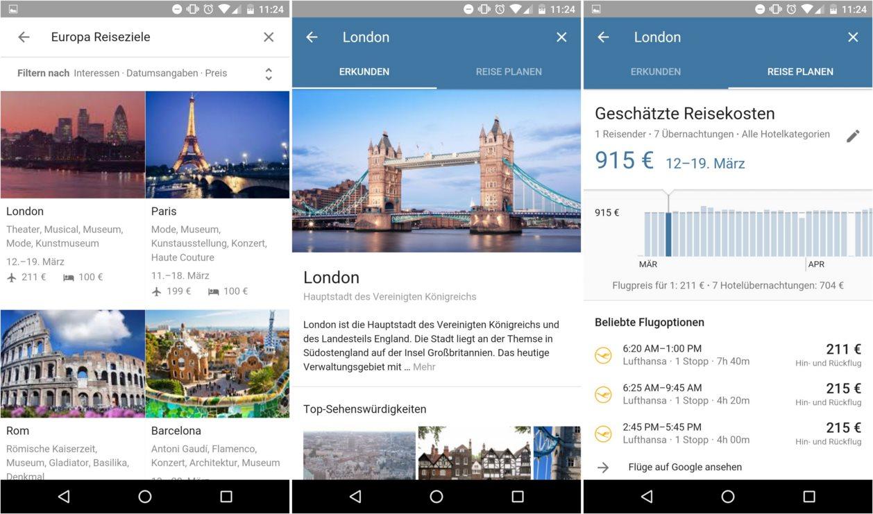 Google Destinations Reiseplanung