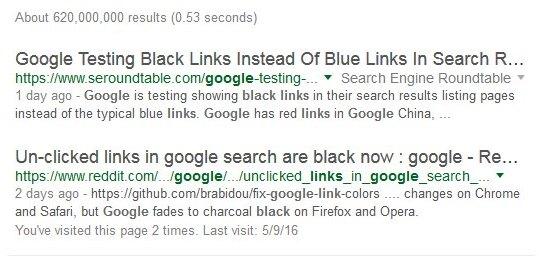 Google schwarze Links