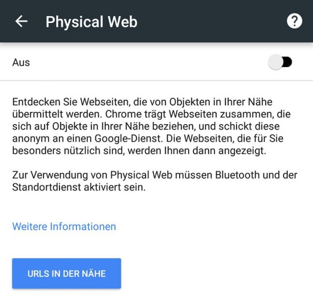 Chrome physisches Web Beacons