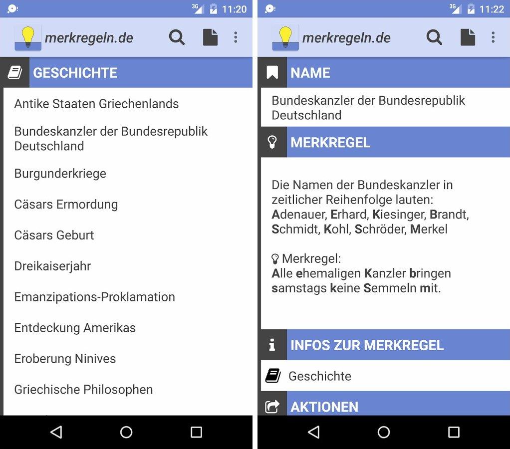 Merkregeln Android App