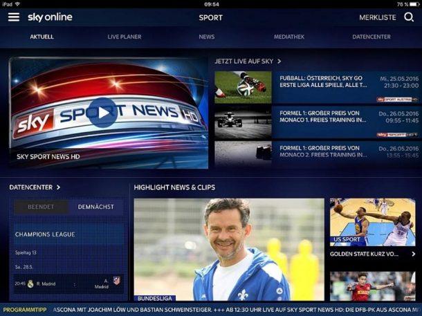 Sky Online Screenshot Mai 2016