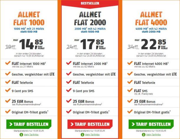 Klarmobil Allnet Flats Juni 2016
