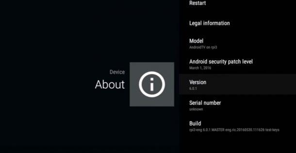 Raspberry Pi 3 Android TV