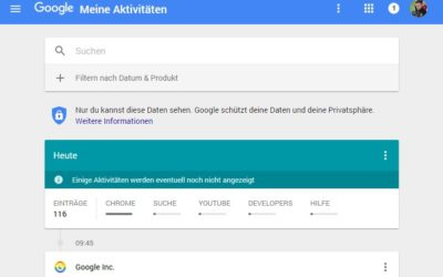 Google Meine Aktivitäten Webseite