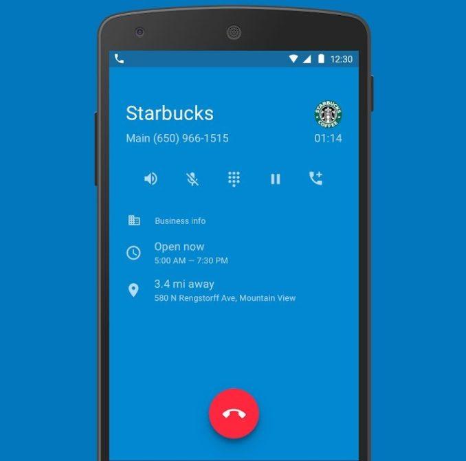 Google Telefon App Header