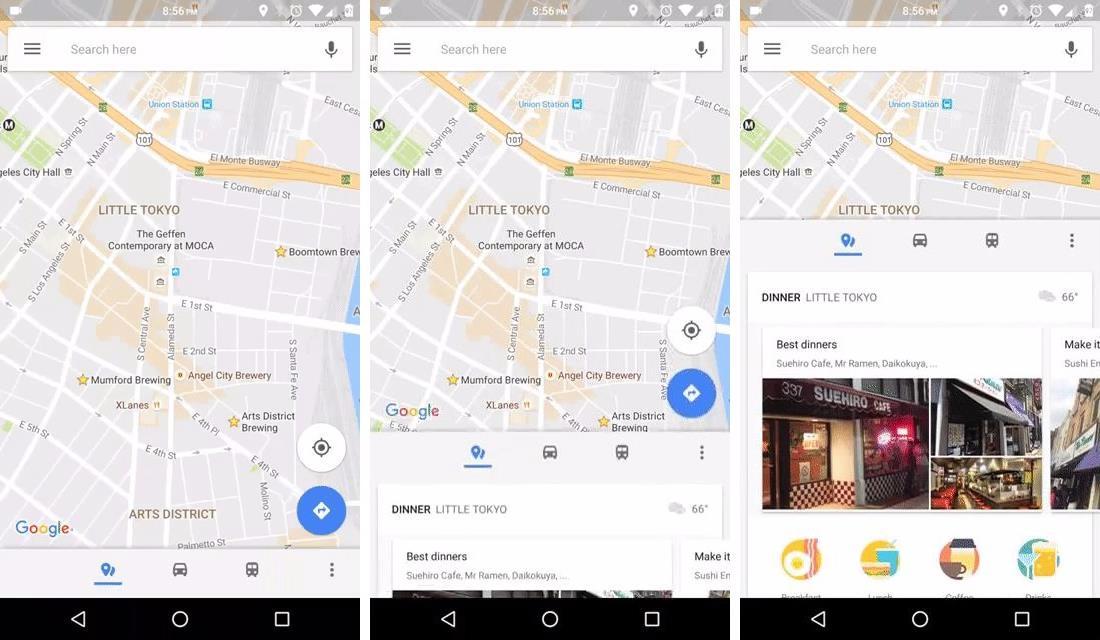 google maps neues navigationsmen und anzeige der entfernungen in der suche. Black Bedroom Furniture Sets. Home Design Ideas