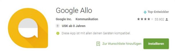 Screenshot: Allo auf Google Play