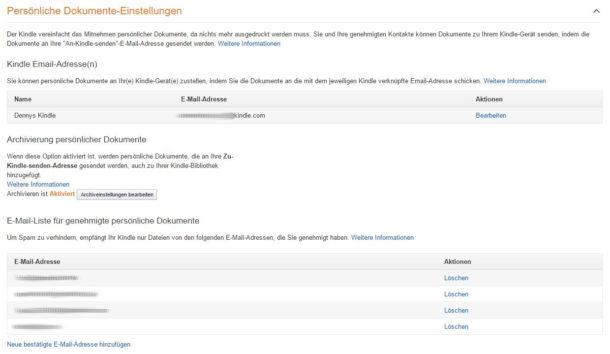 Amazon Kindle Dokumente Einstellungen