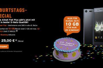 Congstar Geburtstag Deal Angebot Juni 2017