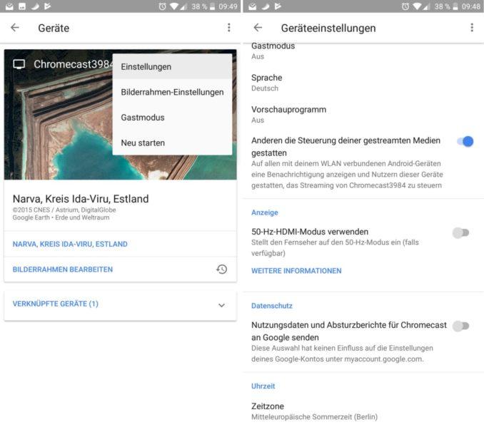 Google Home Chromecast Einstellunegn