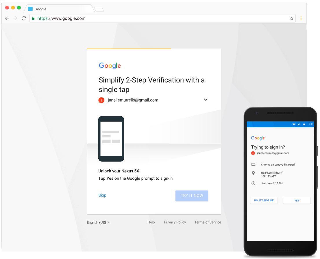 Google Bestätigung in zwei Schritten Prompt