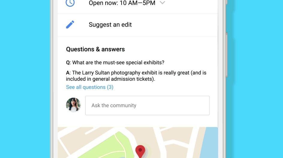 Google Maps Frage-Antwort Header