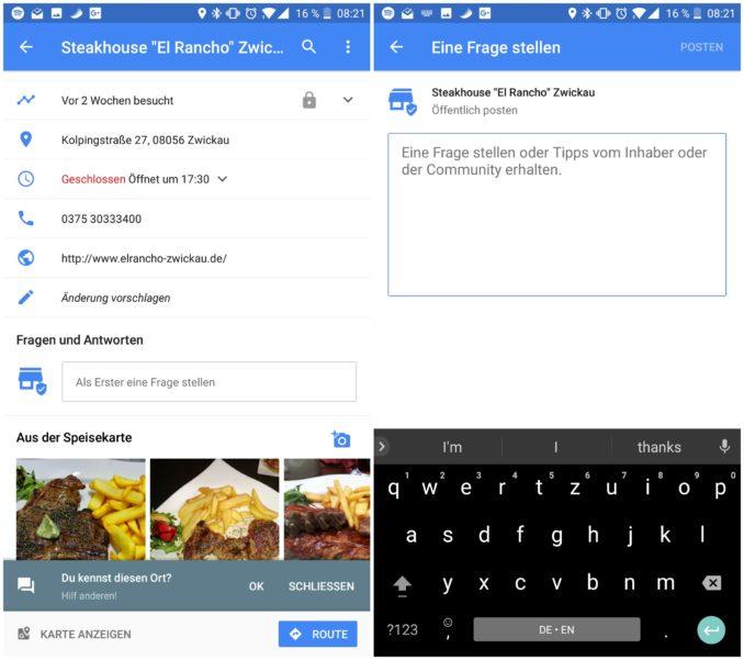 Google Maps Q&A Funktion