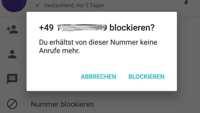 Android Nummer blockieren